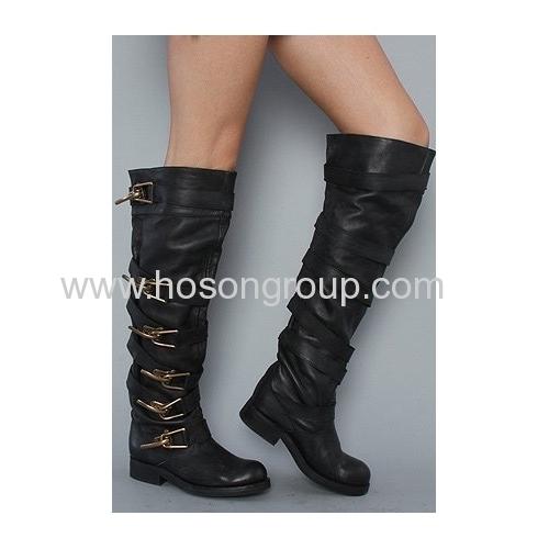 Fashion buckle strap knee heel boots