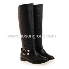 Fashion black buckle strap round toe boots