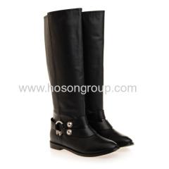Fashion black buckle strap round toe boots