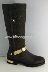 Chunky heel metal decorated women boots