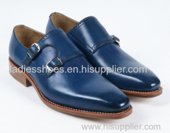 latest leather midnight blue pointed toe pull on men office shoes
