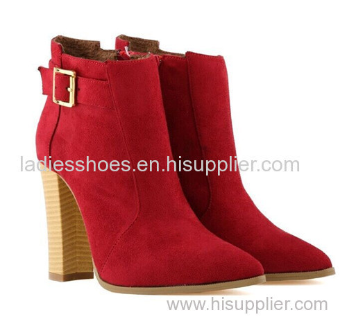 latest fashion high heell red color boot with beige buckle