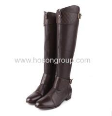 Knee heel chunky heel zipper boots