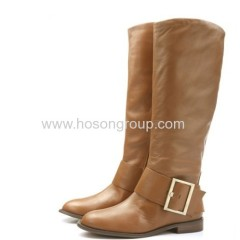 Fashion buckle strap clip on knee heel boots