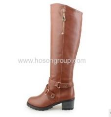 Knee heel zipper buckle strap boots