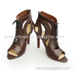 new design peep toe lace up fashion hgih heel boot
