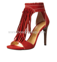 Red tassels ankle wrap high heel saandals