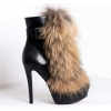 new style fashion high heel buckle boots with fur