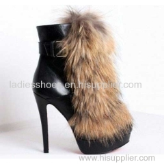 Mulheres fashion high heel buckle boots with fur
