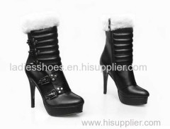 oem design women fashion high heel leather ankle boot