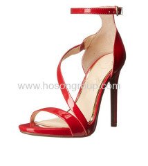 Red ankle strap stiletto heel sandals
