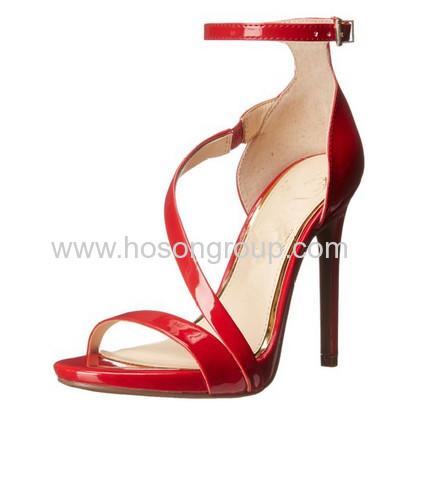 Red ankle strap stiletto heel sandals