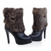 women fashion stilletto heel platform boots with fur outside