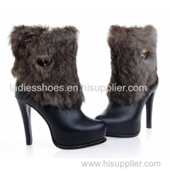 women fashion stilletto heel platform boot with fur outside