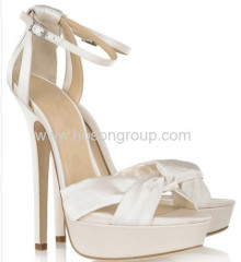 Fashion white cloth knot ankle strap stiletto heel sandals
