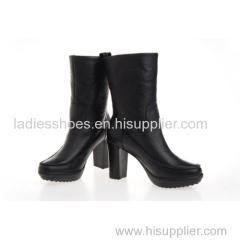 Wholesaler Leather chunky heel ankle high heel waterproof boots
