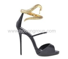 Snake ankle strap stiletto heel sandals
