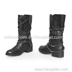 round toe leather fashion flat women boots with chains
