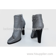 OEM design gray high heel boots women ankle boot