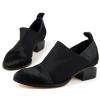 patch material fashion women black falt boots
