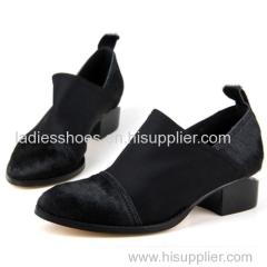patch material fashion women black falt boot