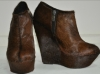 brown color chunky heel zipper women ankle boots