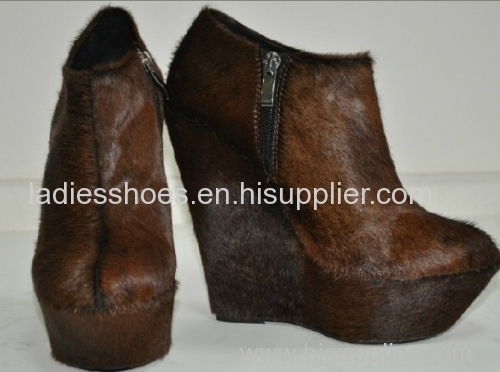 brown color chunky heel zipper women ankle boot