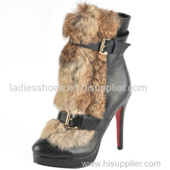 wholesale factory price chinese high heel women ankle boots with fur ourside
