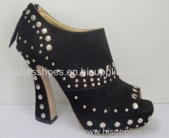 square heel women fashion ankle boots with stud