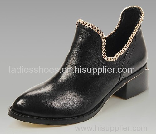 women comfortable fashion leather black color flat ankle boots with chains
