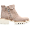 brown basic style zipper flat women ankle boots
