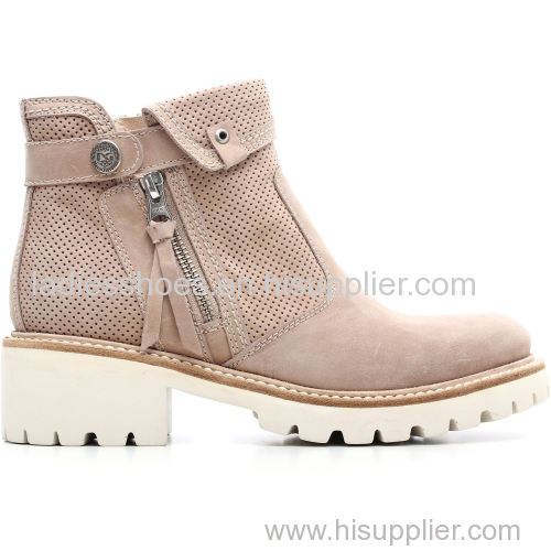 brown basic style zipper flat women ankle boot