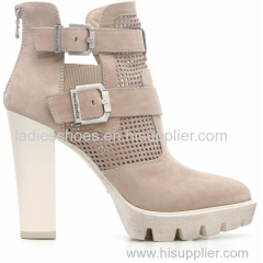 new fashion high square heel zipper women ankle boots with strep