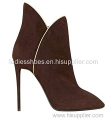fashion design high heel brown pointed toe women ankle boot