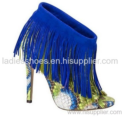 printed snack pattern fashion high heel women ankle boot with blue tassels