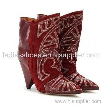 fashion patch material red low heel women ankle boots