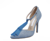 hgih heel blue cut out pointed toe women ankle boots with tassel