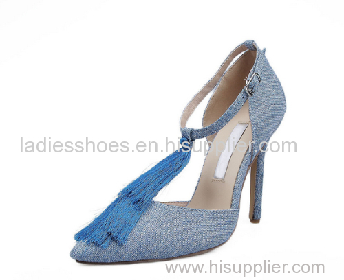 hgih heel blue cut out pointy toe women ankle boots with tassel
