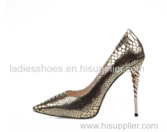 gold snake pattern women pointy toe dress shoes
