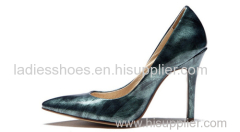 ancient style printed women high heel pointed toe pump dress shoes