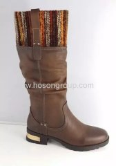 Brown round toe low heel boots