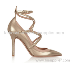 Gold color patent leather pointed toe high heel ladies dress shoes