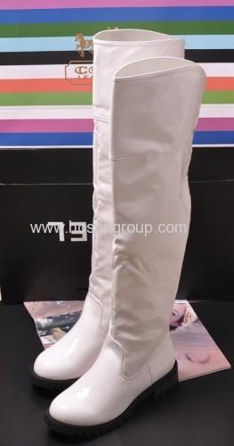 Fashion chunky PU leather thigh heel boots