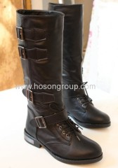 Black buckle strap lace up knee heel boots