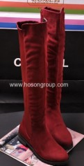 Fashion PU leather and suede thigh heel boots