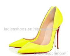 Pointed toe pull on ladies pump ladies shoes yellow