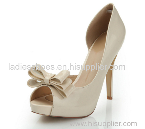 Bowtie peep toe high heel ladies dress shoes