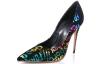 high heel black ladies pump with English word