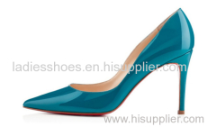 Patent leather pointy toe high heel dress party shoes blue