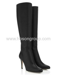 Black pointed toe stiletto heel boots